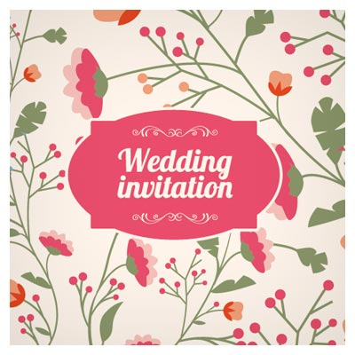 کارت دعوت لایه باز با فرمت برداری ، با رنگ های شاد و طرح گلهای فانتزی (Wedding Invitations With Flowers)