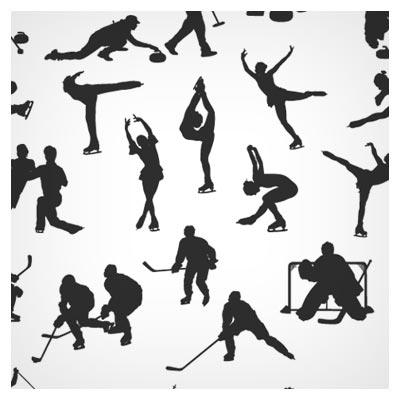 دانلود وکتور مجموعه کاراکترهای تکرنگ ورزشی زمستانی (silhouettes) با فرمت های لایه باز