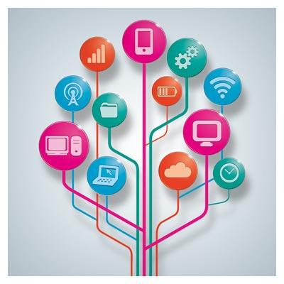 طرح لایه باز اینفوگرافی با موضوع دیجتیال ، ارتباطات و وسایل ارتباطی (Apps Computer Tools Connections Icons)