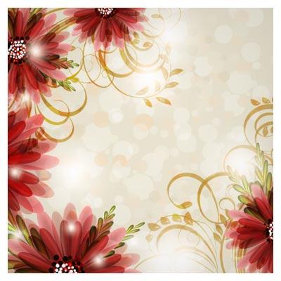 پس زمینه رنگی وکتوری با طرح گلهای زیبا ، ارائه شده با دو فرمت eps و ai
