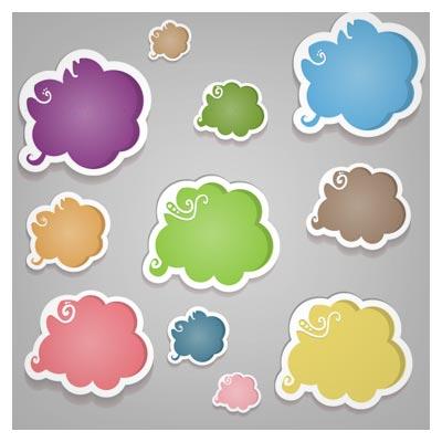 دانلود رایگان لیبل های ابری (لیبلهای گفتگو و چت) با کیفیت بالای وکتوری (Colorful Labels Speech Bubbles Vector)