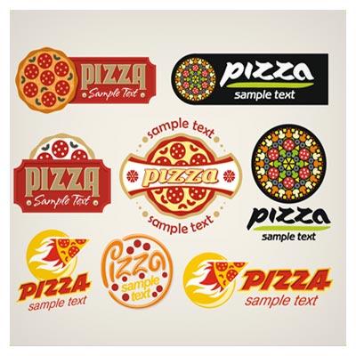 مجموعه طرح های کارتونی با موضوع پیتزا و فست فود ، بصورت لایه باز وکتور