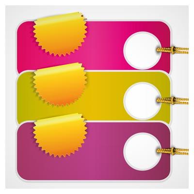 دانلود لیبل و اتیکت وکتوری رنگی با طرح کلاسیک ، ارائه شده با فرمتهای ai و eps