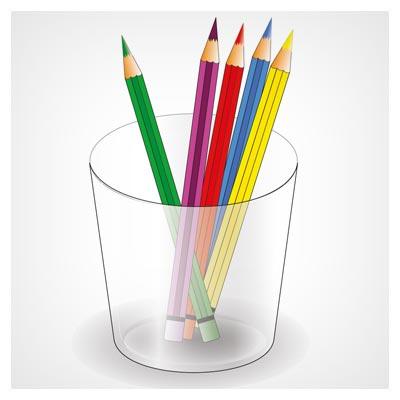 وکتور رایگان لیوان و مدادهای رنگی (هنر گرافیک) با پسوندهای ai و eps