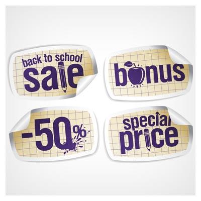 وکتور مجموعه لیبل های کاغذی تا خورده مناسب برای قیمت (با فرمت eps و ai)(Curled Paper Business labels Stickers vector)