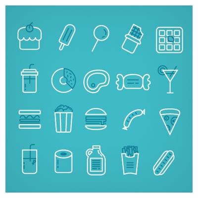 مجموعه آیکون های خطی لایه باز با موضوع مواد غذایی (food line icons)