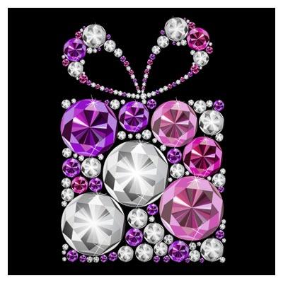 طرح وکتور جعبه هدیه با الماس های درخشان (eps و ai)