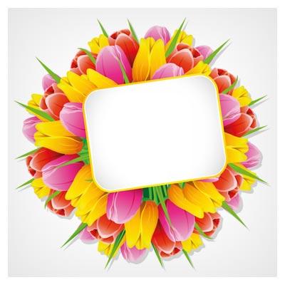 دانلود فایل لایه باز کارت و بنر نفیس با طرح گل های زیبای لاله (Exquisite with Flowers free vector)