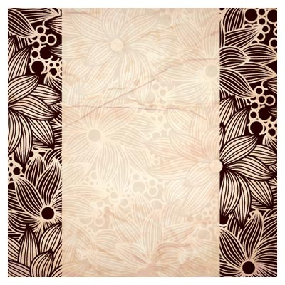 وکتور پس زمینه و کارت با طرح گلهای خطی لایه باز
