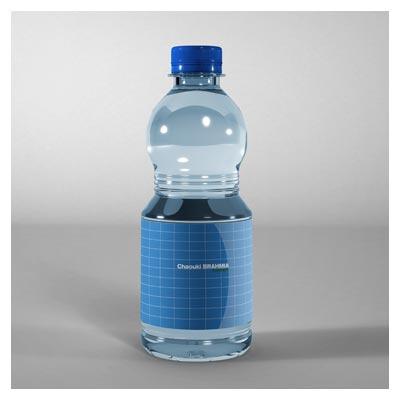 دانلود فایل پیش نمایش یا موکاپ بطری آب معدنی با امکان نمایش لیبل روی بدنه بطری