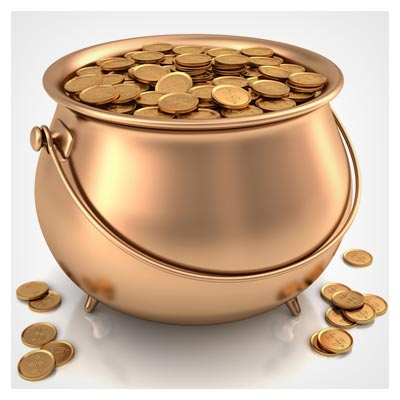 عکس با کیفیت ظرف (خمره) طلا با سکه های طلایی