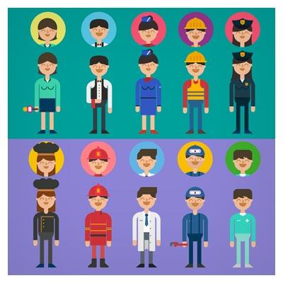 مجموعه کاراکتر و شخصیت های کارتونی فلت مشاغل مختلف