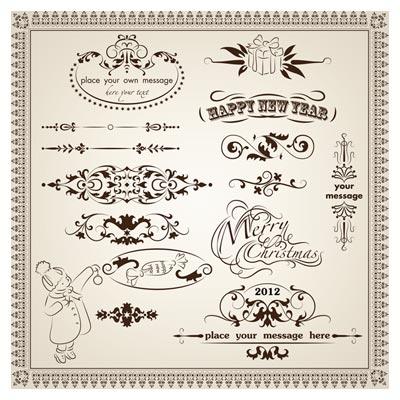 مجموعه المان ، حاشیه و کادر قدیمی لوکس با فرمتهای eps و ai لایه باز