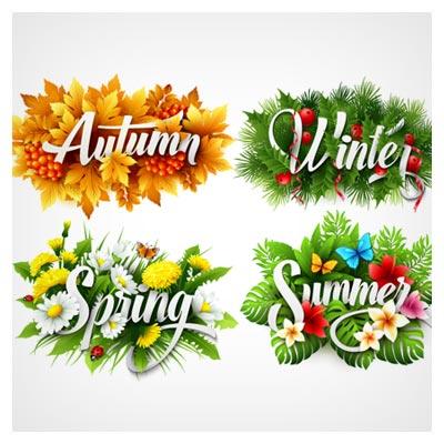 دانلود مجموعه چهار بنر لایه باز با موضوع بهار ، تابستان ، پاییز و زمستان (لایه باز epsو ai)