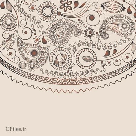 وکتور پترن و پس زمینه با طرح ترنج و بته جقه (با پسوندهای eps و ai لایه باز)