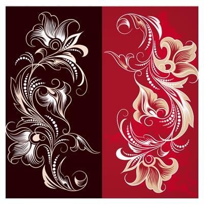 پس زمینه وکتور با طرح گل های نفیس خطی (swirl & Floral Design)