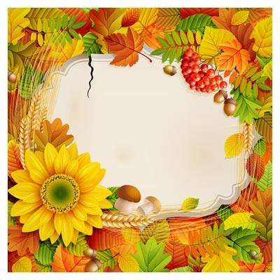 دانلود پس زمینه و بنر با طرح گل های پاییزی و آفتابگردان ، با دو فرمت eps و ai