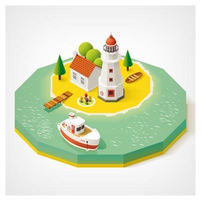 وکتور نمای سه بعدی از یک جزیره با المان های اقیانوس ، کشتی و فانوس دریایی