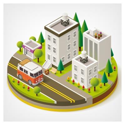دانلود وکتور سه بعدی از نمای شهر و خیابان ، با فرمتهای لایه باز eps و ai