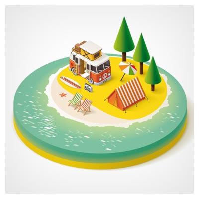 وکتور سه بعدی لایه باز سفر به جزیره ساحلی ، با دو فرمت eps و ai