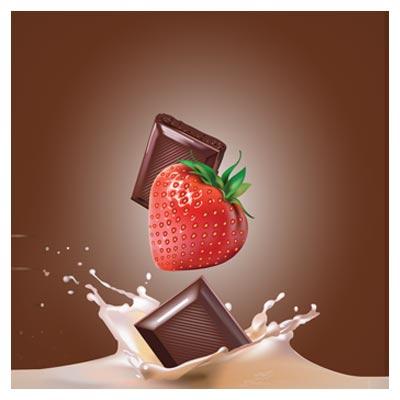 طرح گرافیکی وکتوری افتادن توت فرنگی در شیر و شکلات ، با فرمتهای لایه باز eps و ai