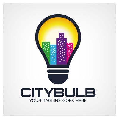 لوگوی آماده وکتوری با طرح لامپ شهر (مناسب برای لوگوی ایده و خلاقیت ، روشنایی شهری و ...)