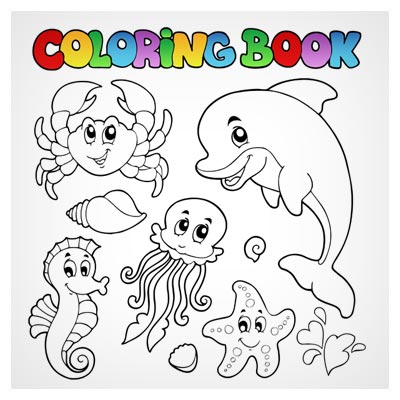 دانلود وکتور لایه باز مجموعه کاراکترهای کارتونی موجودات دریایی مناسب برای کتاب رنگ آمیزی کودک