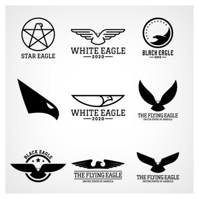 وکتور مجموعه لوگوی عقاب با طرح های سیاه رنگ ، بصورت لایه باز (eps و ai)