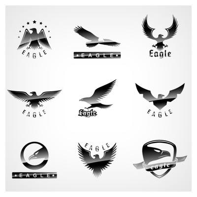 وکتور مجموعه سمبل ، لوگو و آرم با طرح های عقاب (Eagles) بصورت لایه باز