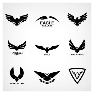 وکتور مجموعه آرم و نماد با طرح عقاب و شاهین ، بصورت تکرنگ و لایه باز