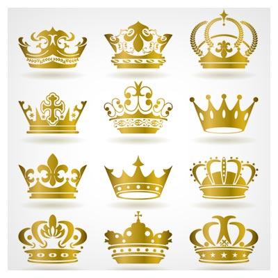 وکتور مجموعه تاج طلایی پادشاهی ، لایه باز با دو فرمت eps و ai