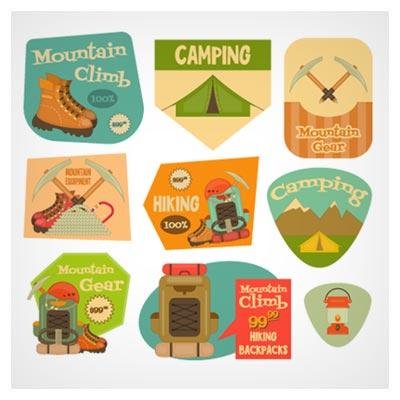 وکتور فلت (Flat) مجموعه المان های سفر کوهنوردی (Camping)