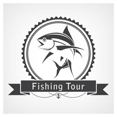 فایل لایه باز لوگو با طرح ماهی (Fishing Tour) یا گردش ماهیگیری