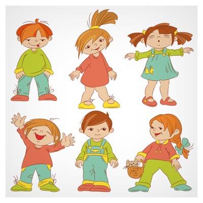 مجموعه کاراکترهای کودکانه دختر و پسر شاد با فرمت های لایه باز eps و ai