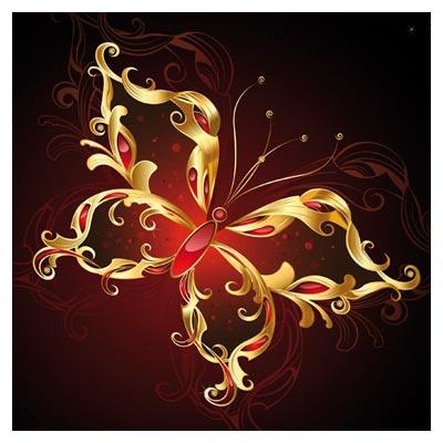 وکتور پروانه طلایی با پس زمینه مشکی با دو پسوند eps و ai لایه باز