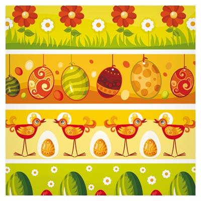 مجموعه بنر تکرار شونده (پترن) با طرح تخم مرغ ، گل ، مرغ و خرگوش با فرمتهای eps و ai