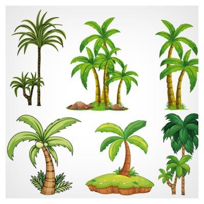 طرح وکتوری مجموعه درخت های لایه باز با فرمت های eps و ai