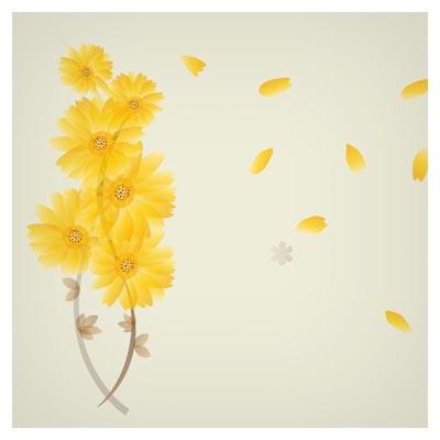 دانلود پس زمینه وکتوری با طرح گل های مینای زرد (Beautiful daisy flower with leave)