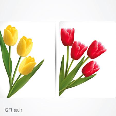وکتور لایه باز گل های لایه قرمز و زرد با کیفیت بالا و فرمت های eps و ai