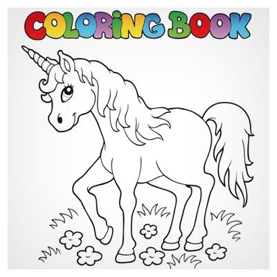 طرح کارتونی اسب برای کتاب های رنگ آمیزی کودک (Color Booking)