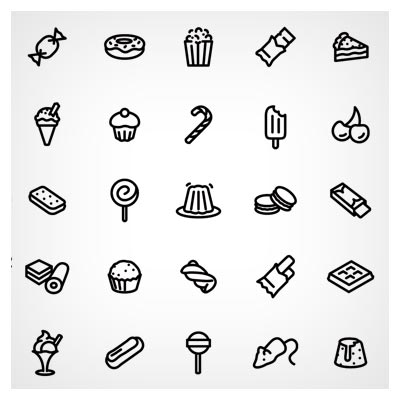 مجموعه آیکون های خطی با موضوع خوراکی ها و شیرینی ها بصورت لایه باز