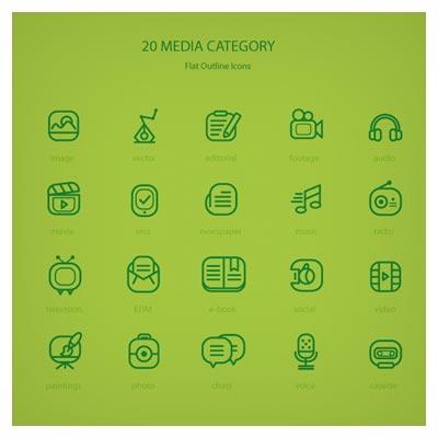 مجموعه 20 آیکون خطی با موضوع مدیا و چند رسانه ای (Media Line Icon)
