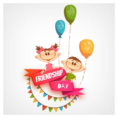 وکتور کارتونی شادی کودکانه (Friendship Day)