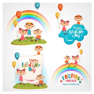 وکتور لایه باز کارتونی با موضوع شادی بچه ها (Happy Friendship Day)