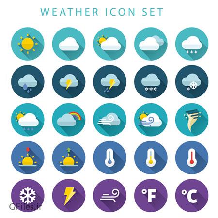 دانلود وکتور مجموعه آیکون با موضوع هواشناسی و آب و هوا با فرمت های لایه باز eps و ai