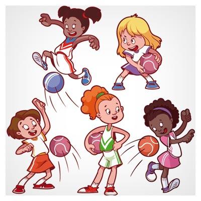 وکتور کارتونی کاراکترهای متنوع بازی فوتبال بچه ها (دختر بچه ها) با فرمت های لایه باز