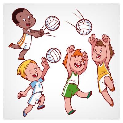 مجموعه کاراکترهای کارتونی بازی والیبال بچه ها با دو پسوند eps و ai لایه باز