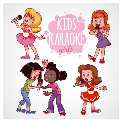 وکتور کارتونی با موضوع خوانندگی کودکان (Kids Karaoke Vector Set)