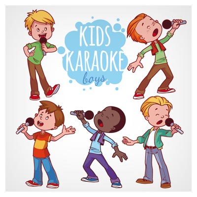 وکتور لایه باز با موضوع تست خوانندگی پسر بچه ها (Kids Boy Karaoke)