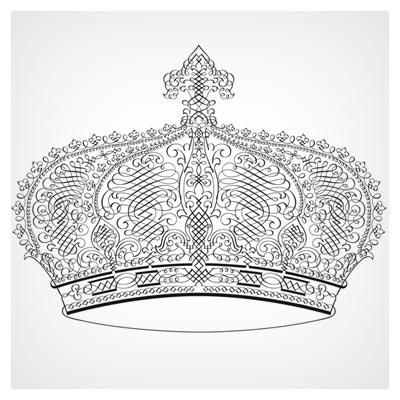 کلیپ آرت وکتوری خطی تاج پادشاهی (Clipart of Calligraphic Design of crown header)